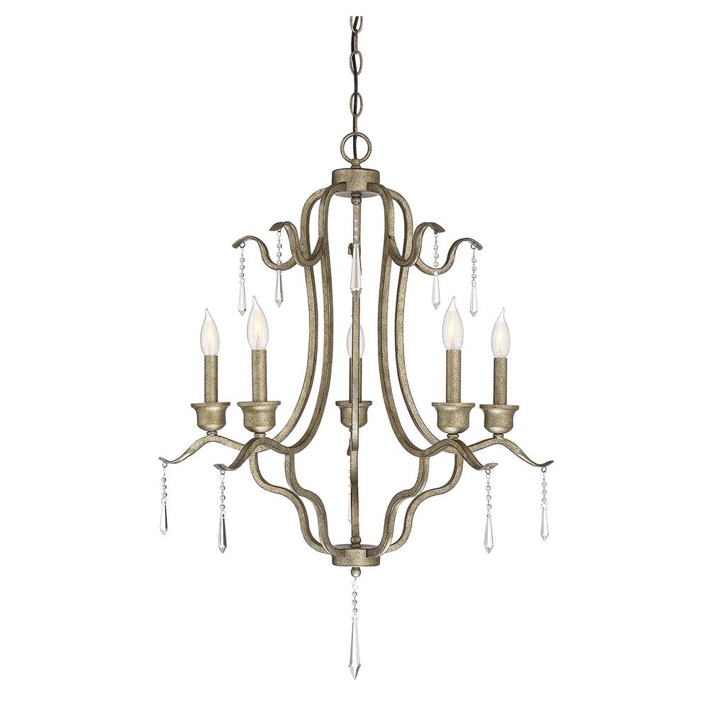 Filament Design 5-Light Antique Gold Chandelier - Filament Design 5-Light Antique Gold Chandelier-CLI-SH027514 - The