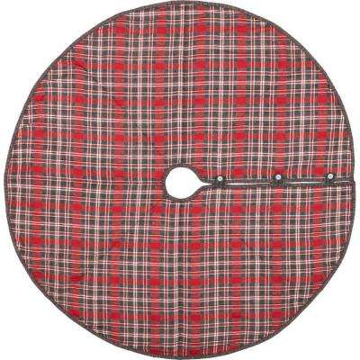 55 in. Anderson Cherry Red Rustic Christmas Decor Plaid Tree Skirt