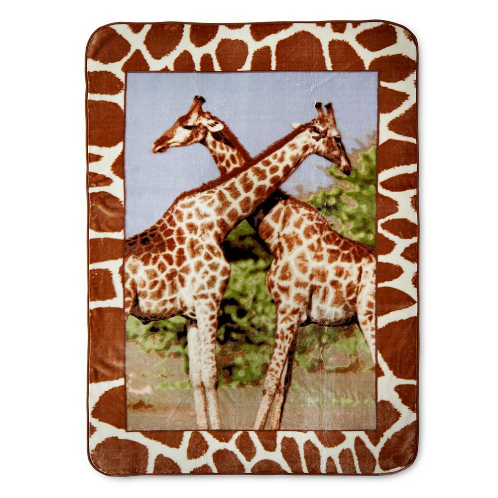 Hi Pile Giraffes 60 in.x 80 in. Oversized Throw