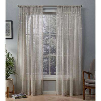 Davos 54 in. W x 96 in. L Sheer Rod Pocket Top Curtain Panel in Linen (2 Panels)