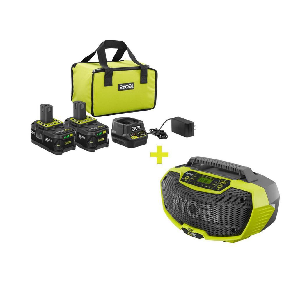RYOBI 18-Volt ONE+ High Capacity 4.0 Ah Battery (2-Pack) Starter Kit with Charger and Bag with FREE ONE+ Hybrid Stereo was $301.0 now $99.0 (67.0% off)