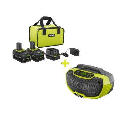 18-Volt ONE+ High Capacity 4.0 Ah Battery (2-Pack) Starter Kit with Charger and Bag with FREE ONE+ Hybrid Stereo