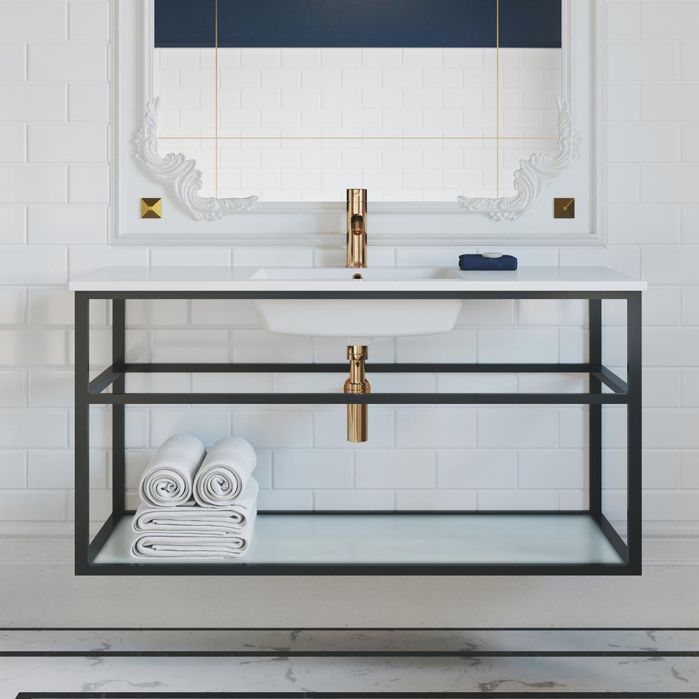 Pierre 48 in. Single, Metal Frame, Open Shelf, Bathroom Vanity in Black, Vanity Top in White with White Basin