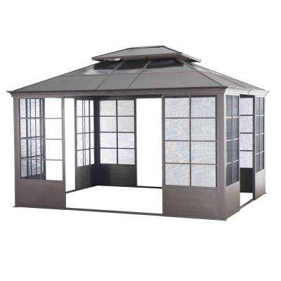Conner 12 ft. x 14 ft. Brown Steel Screen House Gazebo