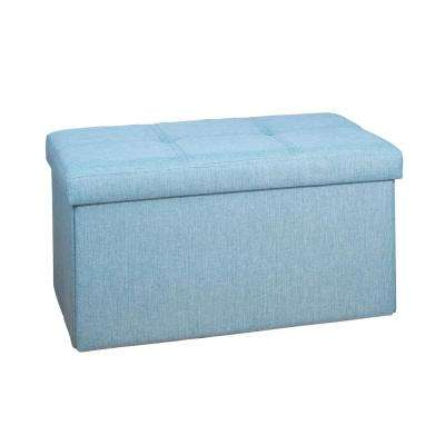 Seafoam Linen Look Double Folding Ottoman