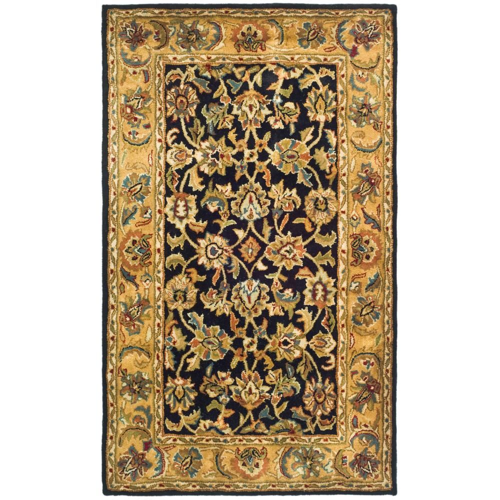 Large Area Rugs Gold: Safavieh Classic Black/Gold 3 Ft. X 5 Ft. Area Rug-CL758B
