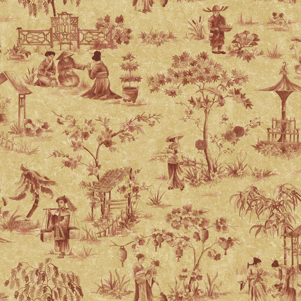 The Wallpaper Company 10 in. x 8 in. Red China Toile Wallpaper Sample-DISCONTINUED