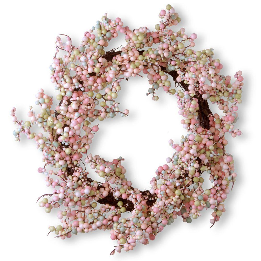 15.75 in. Light Pink Wreath