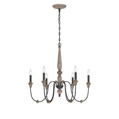 Brown chandeliers lighting the home depot capra 6 light rust chandelier with distressed ivory accents aloadofball Gallery