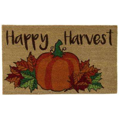 Happy Harvest Pumpkin Leaves 18 in. x 30 in. Door Mat