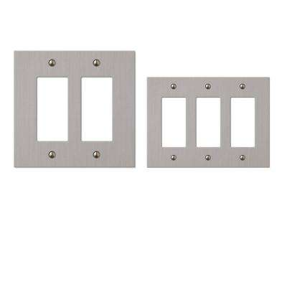 Elan 3-Decorator Wall Plate and Elan 2-Decorator Wall Plate, Brushed Nickel