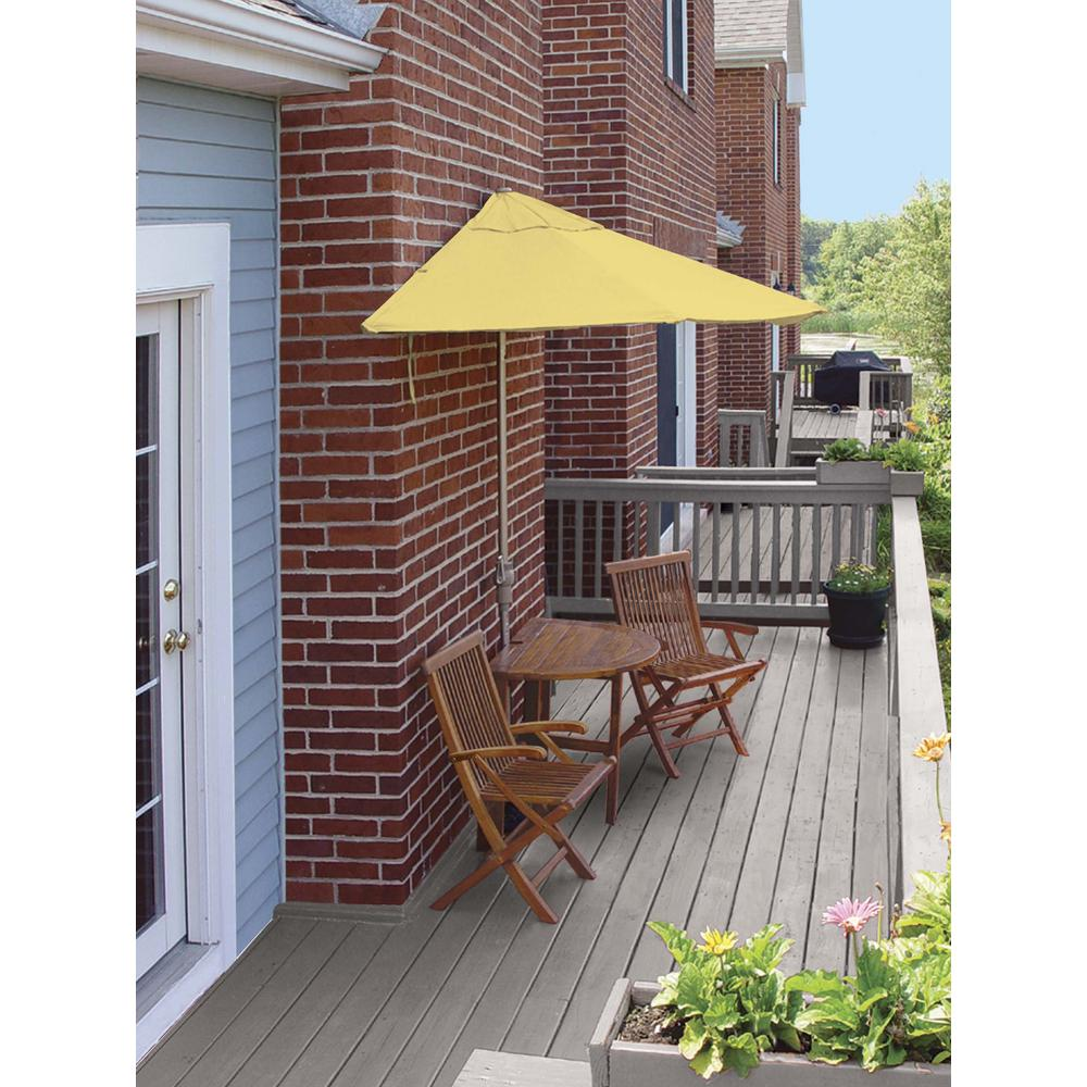 Terrace Mates Bistro Deluxe 5 Piece Patio Set With 7 Ft Yellow Sunbrella Half Umbrella