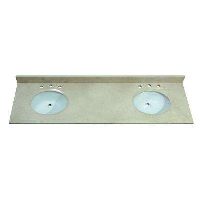 73 in. Marble Vanity Top in Gala Beige without Basin