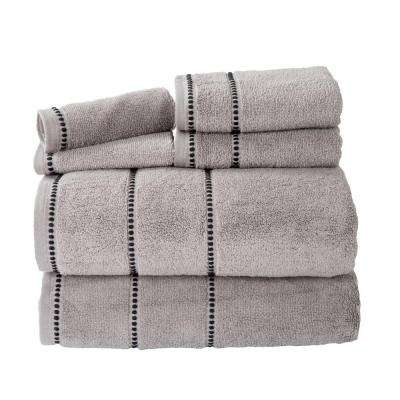100% Cotton Zero Twist Quick Dry Towel Set in Silver (6-Piece)