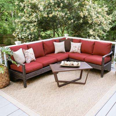 Augusta 5-Piece Wicker Outdoor Sectional Set with Red Cushions