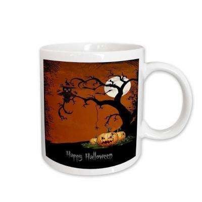 Anne Marie Baugh Halloween Halloween Night with Haunted Tree and Pumpkins 11 oz. White Ceramic Coffee Mug
