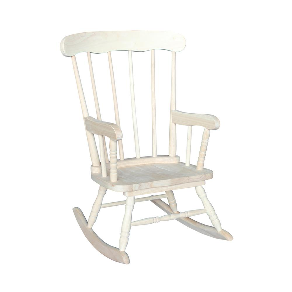 Perfect International Concepts Unfinished Rocking Kids Chair