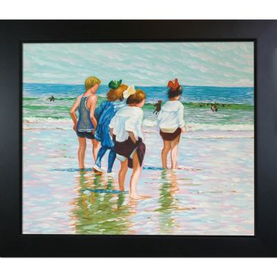 """29 in. x 25 in. """"Summer Day, Brighton Beach with New Age Black Frame """" by Edward Henry Potthast Framed Wall Art"""
