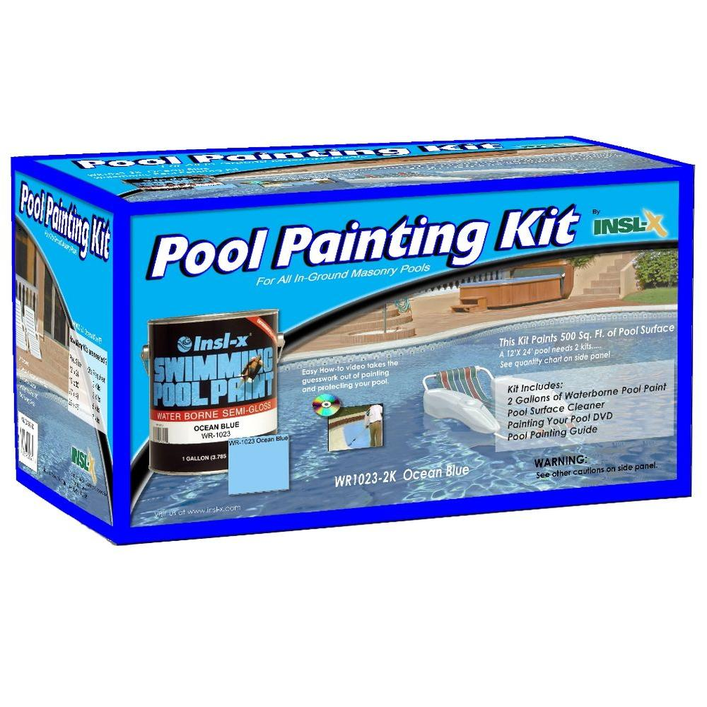 Insl-X Waterborne 1 gal. Ocean Blue Swimming Pool Paint Kit with Cleaner and Instructional DVD