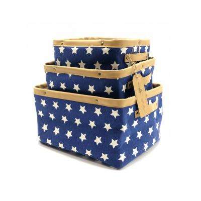 11.4 in. D x 15 in. W x 8.3 in. H Blue Collapsible Canvas Fabric Nested Baskets (Set of 3)