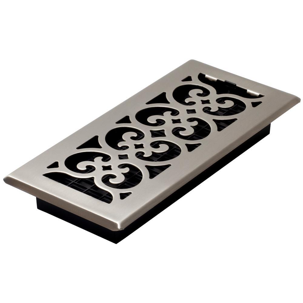 4 in. x 10 in. Steel Floor Register in Brushed Nickel