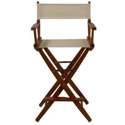 30 in. Extra-Wide Mission Oak Wood Frame/Natural Canvas Seat Folding Directors Chair