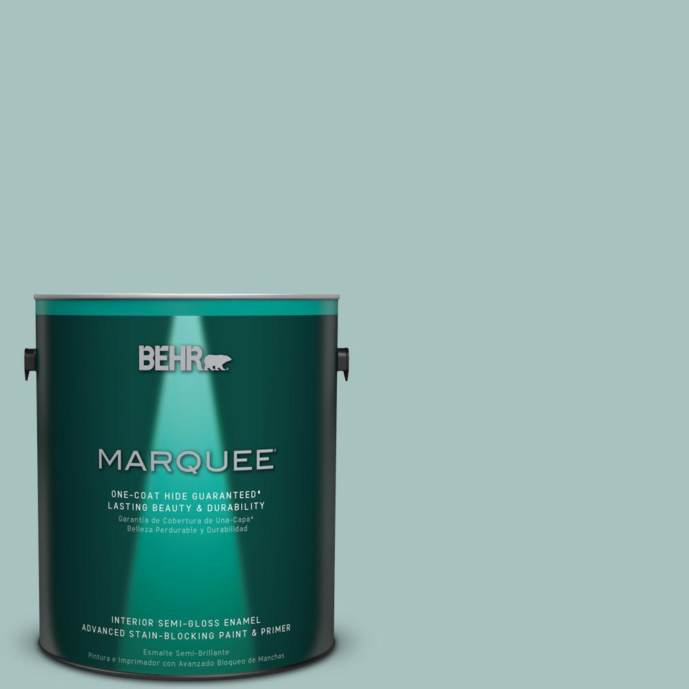 1 gal. #T17-08 Polished Aqua Semi-Gloss Enamel Interior Paint