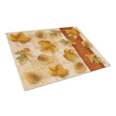Fall Autumn Leaves Tempered Glass Large Cutting Board