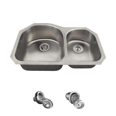 All-in-One Undermount Stainless Steel 31 in. Left Double Bowl Kitchen Sink