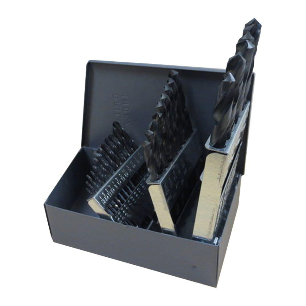 High Speed Steel Black Oxide Metric Drill Bit Set (25-Piece)