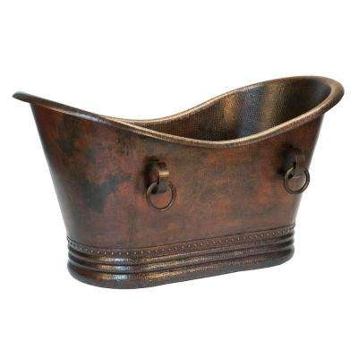 5 ft. Hammered Copper Double Slipper Flatbottom Non-Whirlpool Bathtub with Rings in Oil Rubbed Bronze
