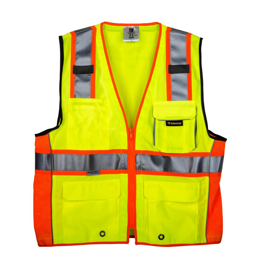 Large 3M Class 2 Safety Vest with Pockets and Zipper Closure