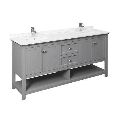 Manchester 72 in. W Bathroom Double Bowl Vanity in Gray with Ceramic Vanity Top in White with White Basins