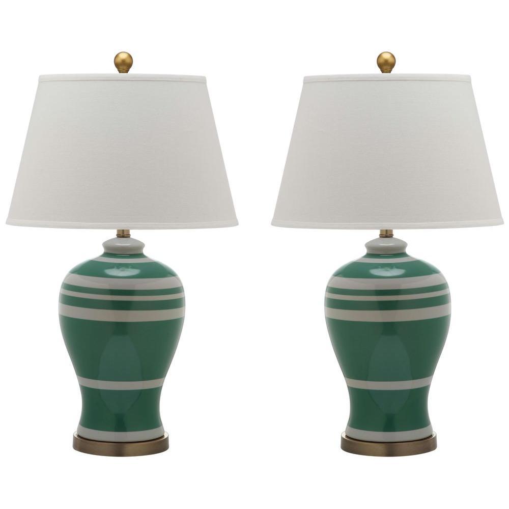 Green Pottery Stripe Ginger Jar Lamp 2 Set