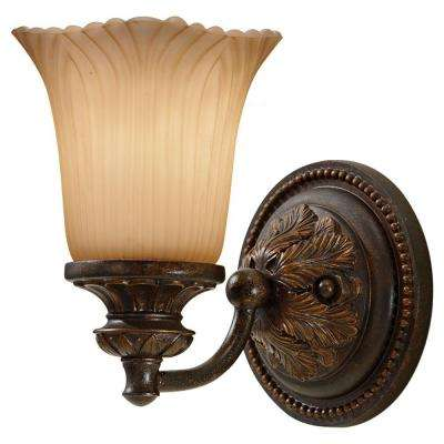 Emma 5.5 in. W x 8 in. H 1-Light Grecian Bronze Sconce with Cream Etched Glass Shade and Vintage Ornate Backplate