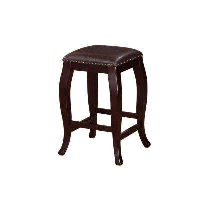 San Francisco 24 in. Brown Wenge Cushioned Bar Stool
