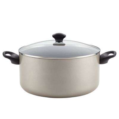 10.5 Qt. Cookware Aluminum Nonstick Covered Stockpot in Champagne