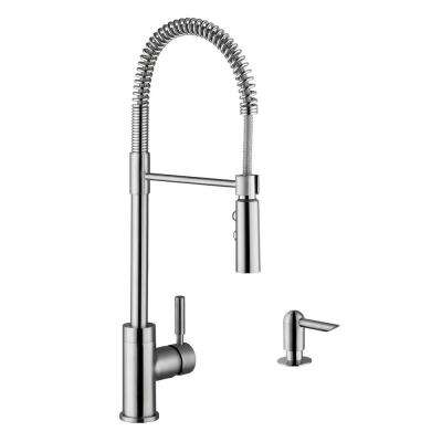 Industrial Single-Handle Pull-Down Sprayer Kitchen Faucet with Soap Dispenser in Brushed Nickel