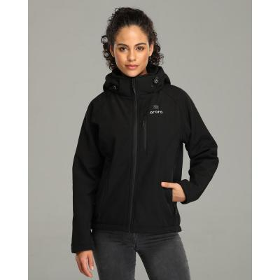 Women's Black 7.4-Volt Lithium-Ion Slim Fit Heated Jacket with One 5.2 Ah Battery Pack and Detachable Hood