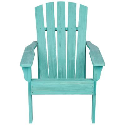 36 in. Tall Vineyard Patio Turquoise Wooden Adirondack Chair