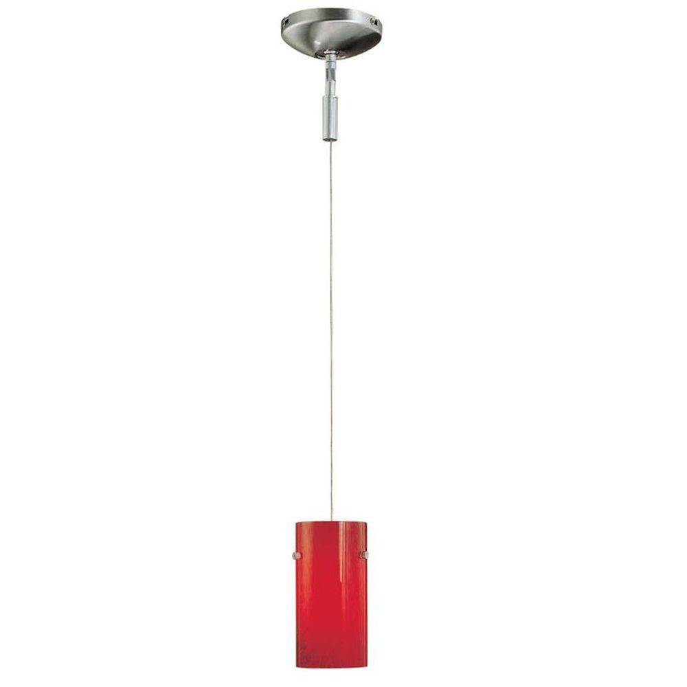 Hampton Bay 1-Light Brushed Nickel Mini Pendant with Red Frosted Glass Shade