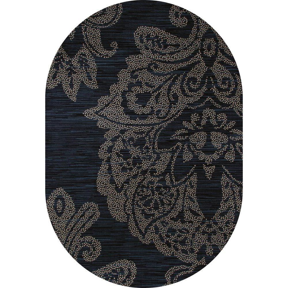Large Oval Area Rugs: Art Carpet Bastille Large Damask Blue 6 Ft. 7 In. X 9 Ft