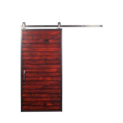 36 in. x 84 in. Mountain Modern Barn Red Wood Barn Door with Mountain Modern Sliding Door Hardware Kit