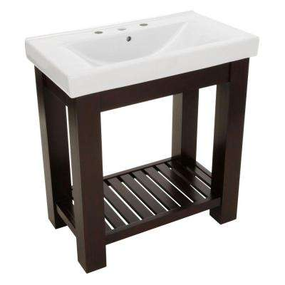 Lexi 31-1/2 in. W x 18 in. D Bath Vanity in Dark Oak with Vitreous China Vanity Top in White