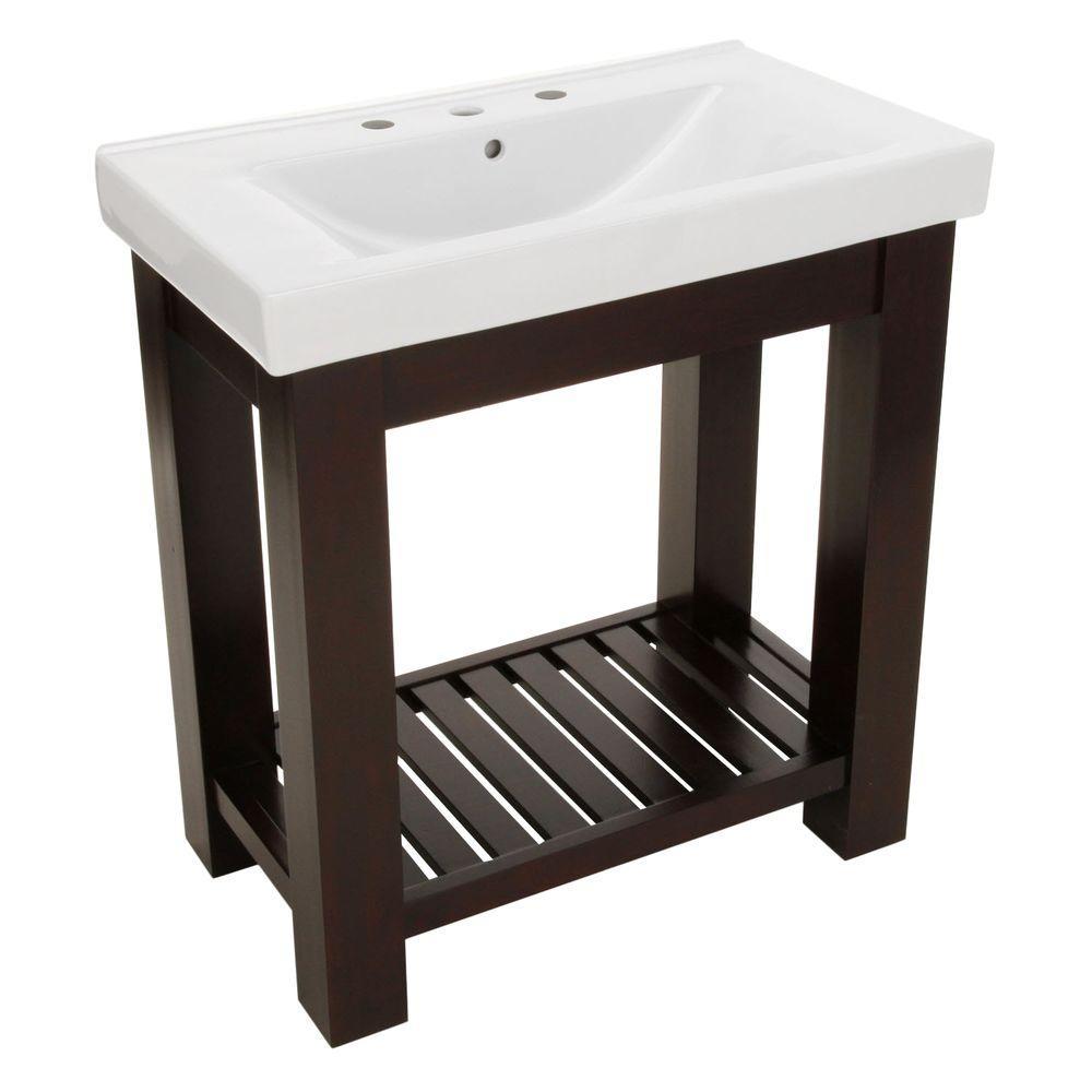 Lexi 31-1/2 in. W x 18 in. D Bath Vanity in Dark Oak with Vitreous China Vanity Top in White