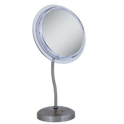 Surround Light 7X S-Neck Vanity Mirror in Satin Nickel