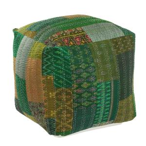 Pleasant Kantha Patchwork Green Handmade Foliage Pouf Ottoman Cjindustries Chair Design For Home Cjindustriesco