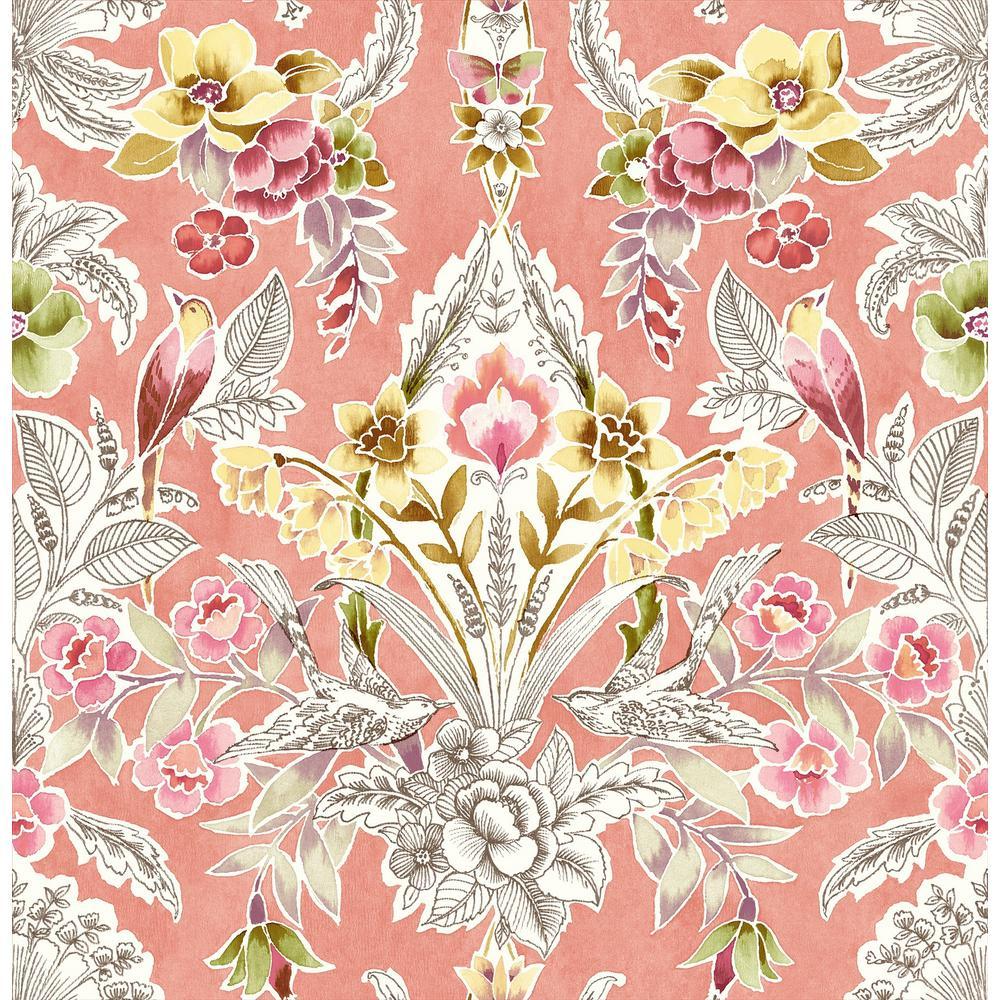Jackson, Vera Pink Floral Damask Wallpaper