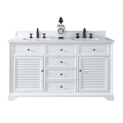 Savannah 60 in. W Double Vanity in Cottage White with Quartz Vanity Top in White with White Basin