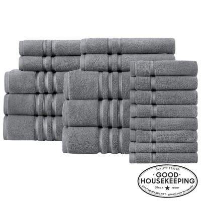 Turkish Cotton Ultra Soft 18-Piece Towel Set in Charcoal